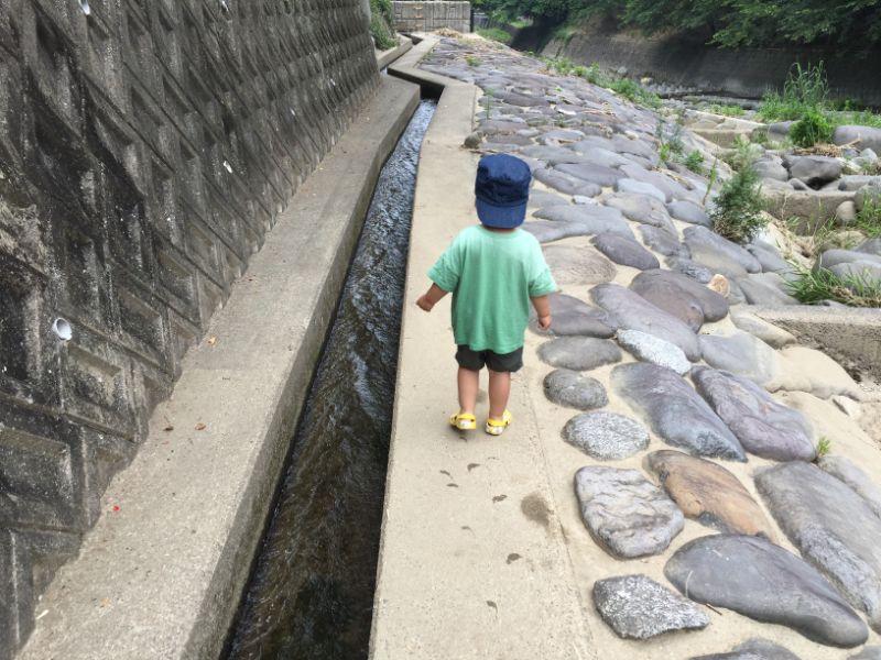 ゆらりんこ橋近くの川で川遊びする子供