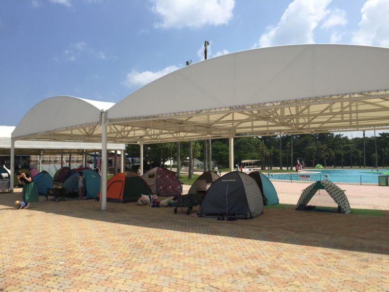 サンシャインプールウォータージャングル近くのテント設置場所