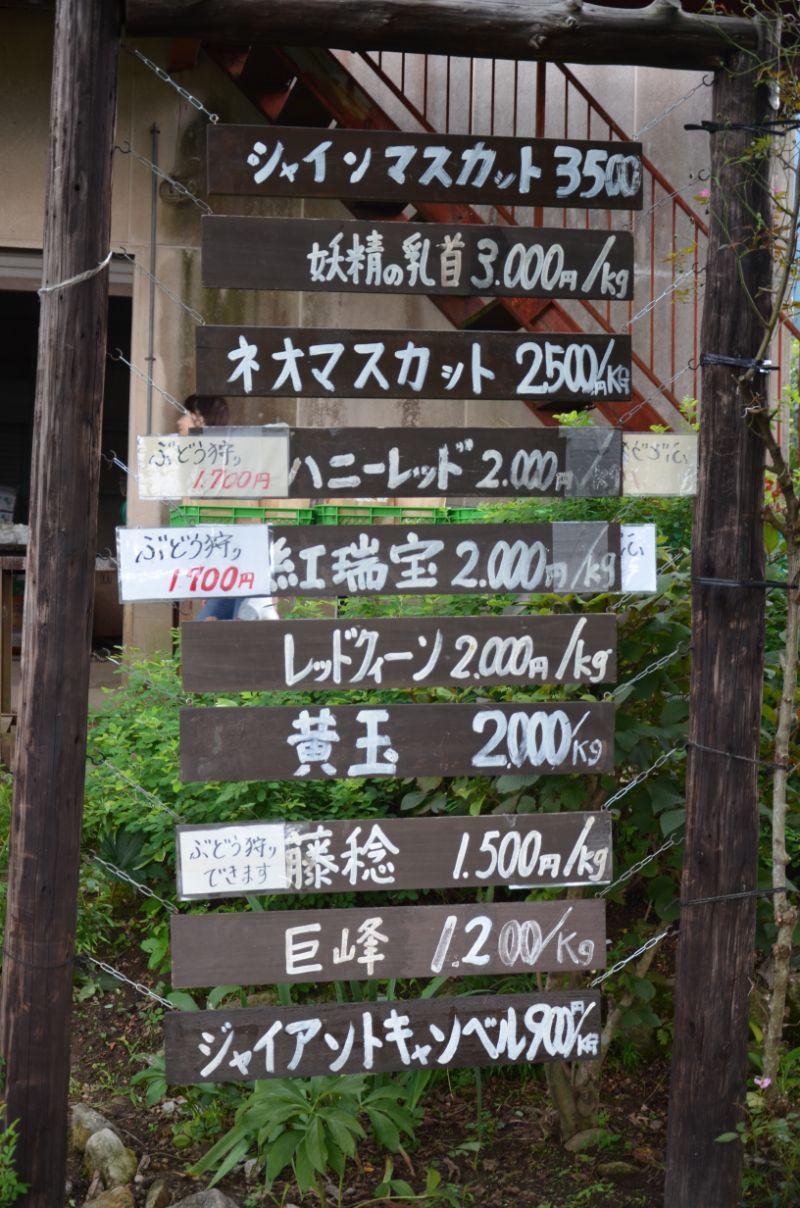 田主丸ぶどう狩りスポット高山果樹園の料金表