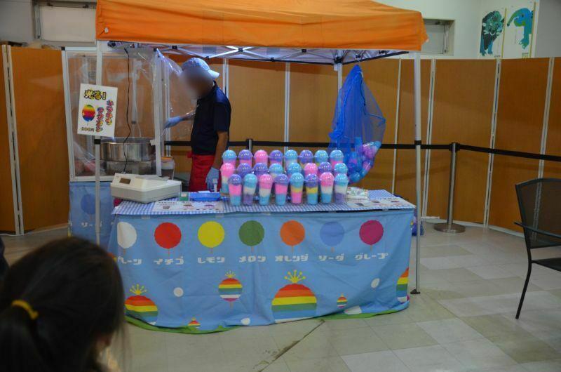福岡市夜の動植物園の綿菓子販売